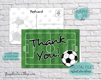 Digital 4x6 Soccer/Futball Field Thank You, Folded Card & Postcard Included | High Res 300dpi JPG Files, Instant Download, Ready to Print