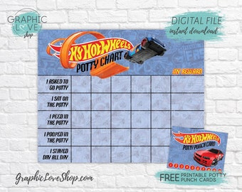 Digital Hot Wheels Car Potty Training Chart, FREE Punch Cards | High Res JPG File, Instant download, NOT Editable, Ready to Print