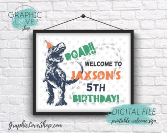 Digital 8x10 Funny Trex Boy Orange Dinosaur Birthday Personalized Welcome Sign Any Age | Printable High Resolution JPG File, Made To Order