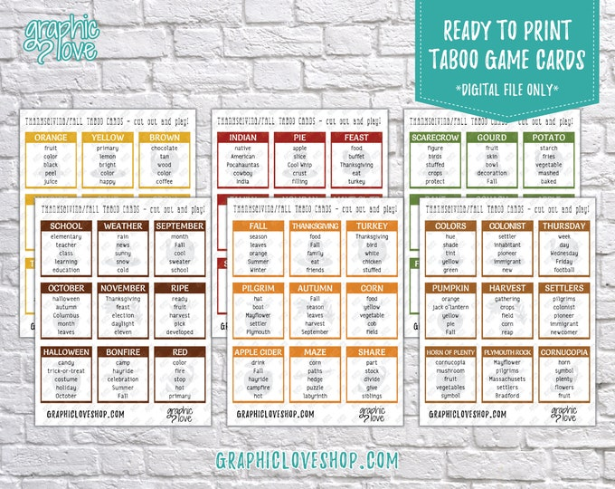 Featured listing image: Printable Thanksgiving/Fall Taboo Game 54 Cards | PDF File, Instant Download, Ready to Print