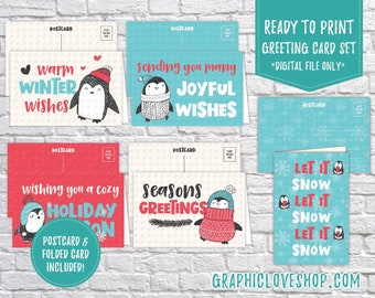 Digital Cute Penguins Holiday Christmas Cards, Set of 5 designs, Folded & Postcard Included | PDF, Instant Download, Ready to Print