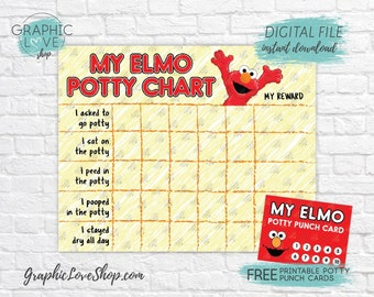 Digital Elmo, Sesame Street Potty Training Chart, FREE Punch Cards | High Res JPG Files, Instant download, NOT Editable, Ready to Print