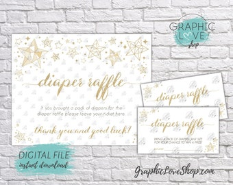 Digital Gold Twinkle Little Star Baby Shower Diaper Raffle Sign and Card Invitation Insert | PDF File, Instant Download, Ready to Print