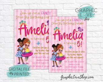 Personalized Fancy Nancy Bree Pink Gold Drive By Birthday Parade Invitation, Any Age | 4x6 or 5x7, Digital File or Printed, FREE US Shipping