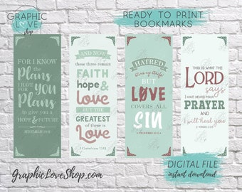 Printable Bible Verse Digital Bookmarks, Set of 4 | Christian Gift, VBS, Vacation Bible School | JPG File, Instant download, Ready to Print