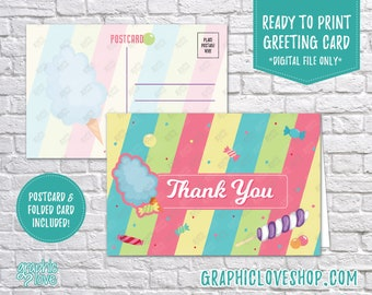 Digital 4x6 Colorful Candy Shop Thank You Card, Folded & Postcard Included   High Resolution JPG File, Instant Download, Ready to Print