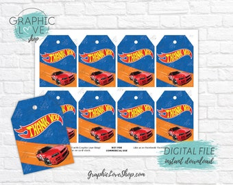 Digital Hot Wheels Car Race Track Printable Birthday Thank You Tags | High Resolution JPG File, Instant Download, Ready to Print