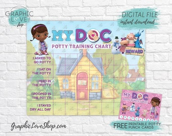 Digital Doc McStuffins Potty Training Chart, FREE Punch Cards | Disney Jr| High Res JPG File, Instant download, NOT Editable, Ready to Print