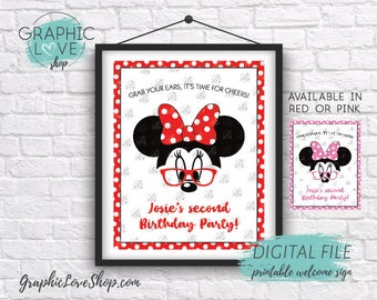 Digital 8x10 Modern Minnie Red or Pink Polkadot Personalized Birthday Party Welcome Sign | Printable High Resolution JPG File, Made To Order