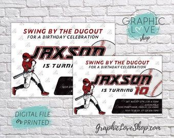Personalized Red and Black Baseball Player Birthday Invitation, Any Age | 4x6 or 5x7 Digital File or Printed, Envelopes, FREE US Shipping