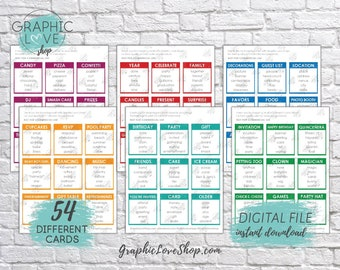 Digital Birthday Party Game, 54 Taboo Cards | Kids Game, Sleepover, Surprise | PDF File, Instant download, NOT Editable, Ready to Print