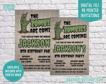 Zombie Apocalypse Creepy Hand Personalized Birthday Invitation Any Age   4x6 or 5x7 Digital JPG File or Printed FREE US Shipping & Envelopes