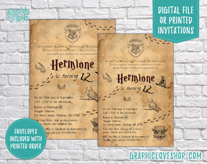 Featured listing image: Personalized Harry Potter, Hogwarts Letter Style Birthday Invitation, Any Age | 4x6 or 5x7, Digital JPG File or Printed, FREE US Shipping