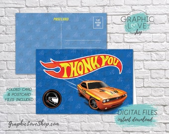 Digital 4x6 Hot Wheels Race Track Thank You Card, Folded & Postcard Included | High Resolution JPG File, Instant Download, Ready to Print