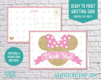 Digital 4x6 Pink and Gold Minnie Mouse Thank You Card, Folded & Postcard | High Res JPG Files, Instant Download, Ready to Print