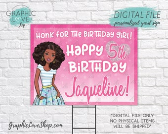 Digital File 18x24 Pink African American Barbie Personalized Happy Birthday Yard Sign, Any Age | Printable High Resolution JPG Made To Order