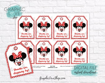 Digital Modern Minnie Cute Red Glasses Printable Thank You Favor Tags | High Resolution 300dpi JPG File, Instant Download, Ready to Print