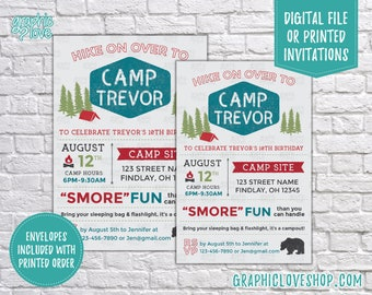 Personalized Camp Name Birthday Invitation, Any Age | Camping, Smores, Fun | 4x6 or 5x7, Digital or Printed, FREE US Shipping & Envelopes