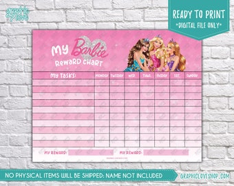 Digital Pink Sparkle Barbie Princess Blank Printable Reward Chart | High Resolution JPG File, Instant download NOT Editable, Ready to Print