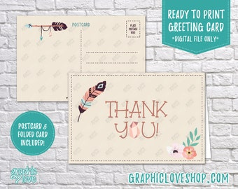 Digital 4x6 Boho Chic Flower Feather Thank You Card, Folded & Postcard Included   High Resolution JPG File, Instant Download, Ready to Print