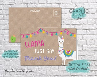 Digital 4x6 Llama Just Say Thank You Card, Folded & Postcard | High Res JPG Files, Instant Download, NOT Editable, Ready to Print