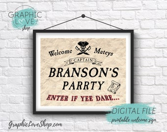 Digital 8x10 Vintage Pirate Ship Skull Map Personalized Birthday Party Welcome Sign | Printable High Resolution JPG File, Made To Order