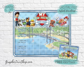 Digital Paw Patrol Potty Training Chart, FREE Punch Cards | High Res JPG Files, Instant download, NOT Editable, Ready to Print
