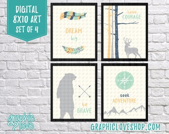 Printable 8x10 Woodland Digital Art Set of 4: Dream Big, Have Courage, Be Brave, Seek Adventure |JPG Files, Instant Download, Ready to Print