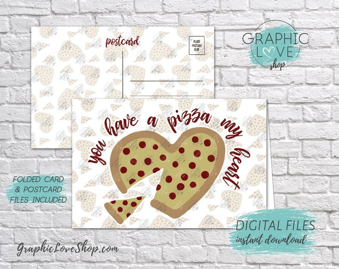 Featured listing image: Digital 4x6 You Have a Pizza My Heart Valentine Card, Folded & Postcard included   High Res JPG Files, Instant Download, Ready to Print