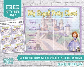 Digital Sofia the First Princess Potty Training Chart, FREE Punch Cards | High Res JPG Files, Instant download, NOT Editable, Ready to Print