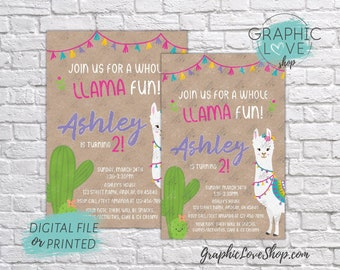 Personalized Cute Llama Fun Fiesta Birthday Invitation for Any Age | 4x6 or 5x7, Digital JPG File or Printed, FREE US Shipping