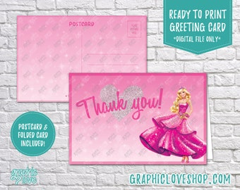 Digital 4x6 Barbie Pink Princess Thank You Card, Folded & Postcard Included | High Resolution JPG File, Instant Download, Ready to Print
