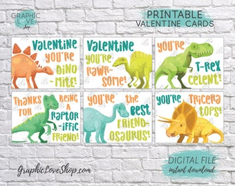 Digital File Kids Dinosaur Printable Valentine's Day Cards, 6 different designs | High Resolution JPG File, Instant Download, Ready to Print