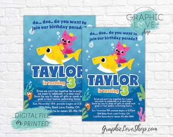 Drive By Parade Baby Shark Personalized Birthday Party Invitation | 4x6 or 5x7 Digital JPG File or Printed, FREE US Shipping Envelopes
