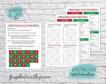 Printable Christmas/Holidays Themed Scattergories Game, 8 Different Category Cards | PDF, Instant download, NOT Editable, Ready to Print