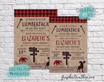 Personalized Lumberjack Rugged Baby Shower Invitation | Red Buffalo Plaid | 4x6 or 5x7, Digital JPG File or Printed, FREE US Shipping