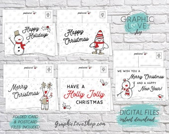 Digital Printable File Doodle Christmas Holidays Cards, Set of 5 designs, Folded & Postcard Included | PDF Instant Download Ready to Print