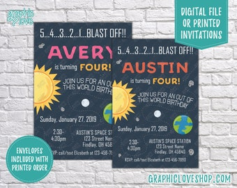 Personalized Outer Space Blast Off Birthday Invitation Pink or Orange, Any Age | 4x6 or 5x7 Digital or Printed, FREE US Shipping & Envelopes