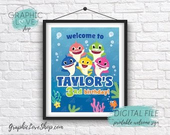 Digital File 8x10 Baby Shark Colorful Under the Sea Personalized Birthday Party Welcome Sign | Printable High Resolution JPG, Made To Order
