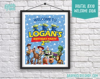 Digital 8x10 Toy Story Woody, Buzz, Jessie Personalized Birthday Party Welcome Sign | Printable High Resolution JPG File, Made To Order