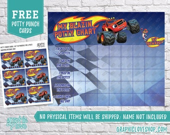 Digital Blaze, Monster Machines Nick Jr Potty Chart, FREE Punch Cards | High Res JPG Files, Instant download, NOT Editable, Ready to Print