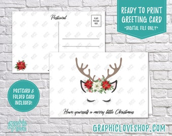 Digital 4x6 Reindeer, Poinsettia Merry Christmas Card, Folded & Postcard included | High Res JPG Files, Instant Download, Ready to Print