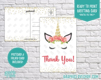 Digital 4x6 Floral Unicorn Glittery Thank You Card - Folded & Postcard | High Res JPG Files, Instant Download, Ready to Print, NOT Editable