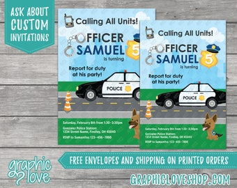 Police Officer Personalized Birthday Invitation | 4x6 or 5x7, Digital File or Printed, FREE US Shipping & Envelopes