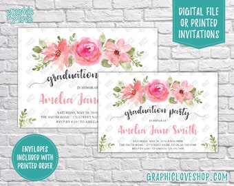 Personalized Floral Graduation Party Invitation, High School or College | 4x6 or 5x7, Digital File or Printed, FREE US Shipping & Envelopes
