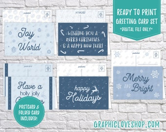 Digital 4x6 Ice Blue Christmas Cards, Set of 5 designs, Folded & Postcard Included | PDF File, Instant Download, Ready to Print