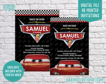 Lightning McQueen, Disney Cars Personalized Birthday Invitation, Any Age | Racing | 4x6 or 5x7, Digital File or Printed, FREE US Shipping