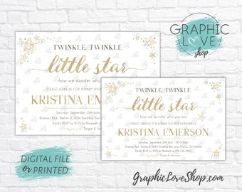 Personalized Gold Sparkle Twinkle Twinkle Little Star Baby Shower Invitation, Gender Neutral | 4x6 or 5x7 Digital JPG File or Printed