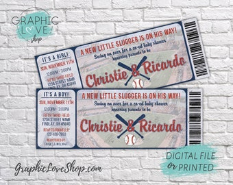 "Personalized Little Slugger Baseball Baby Shower 5.5""x2"" Ticket Invitations 