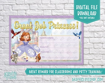 Digital 4x6 Disney Junior Sofia the First, Great Job Princess Reward Certificate | High Res Printable JPG File, NOT Editable, Ready to Print